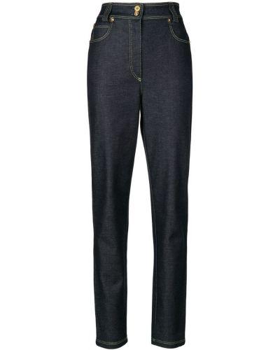 Джинсы с высокой посадкой на пуговицах с карманами Versace