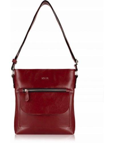 Czerwona torba na ramię skórzana miejska Solier