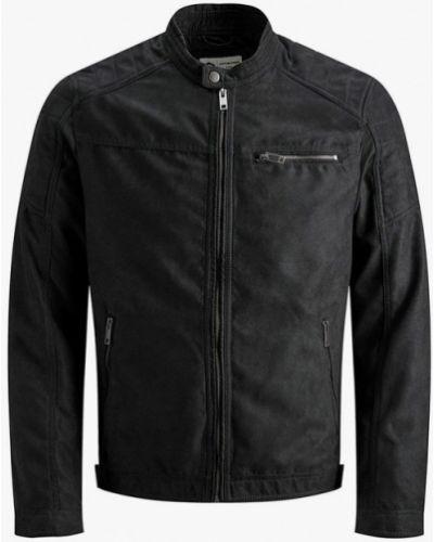 Облегченная кожаная черная куртка Jack & Jones