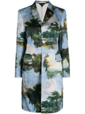 Однобортное синее пальто классическое с капюшоном Comme Des Garçons