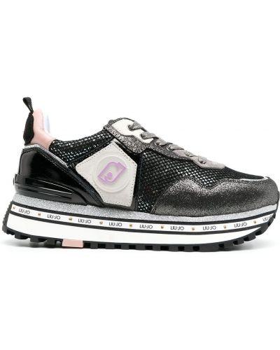 Черные высокие кроссовки на платформе на каблуке Liu Jo