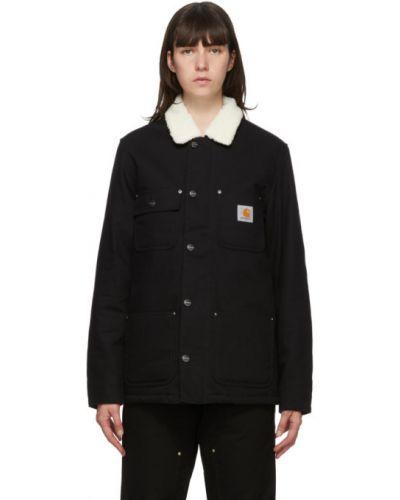 Czarny długa kurtka z mankietami z łatami z długimi rękawami Carhartt Work In Progress