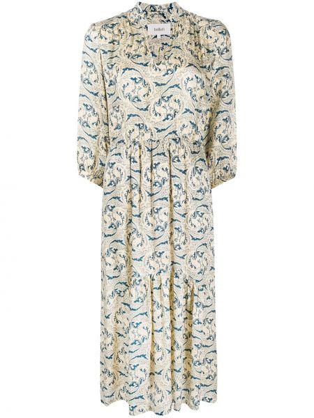 Шелковое с рукавами платье с V-образным вырезом Ba&sh