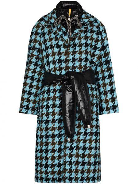 Синее пальто твидовое с перьями Moncler
