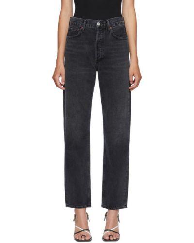Niebieski duży jeansy z kieszeniami z logo Agolde
