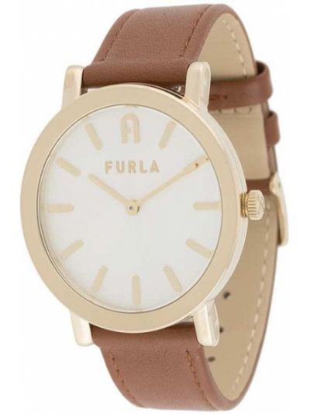Z paskiem brązowy zegarek na skórzanym pasku okrągły z prawdziwej skóry Furla