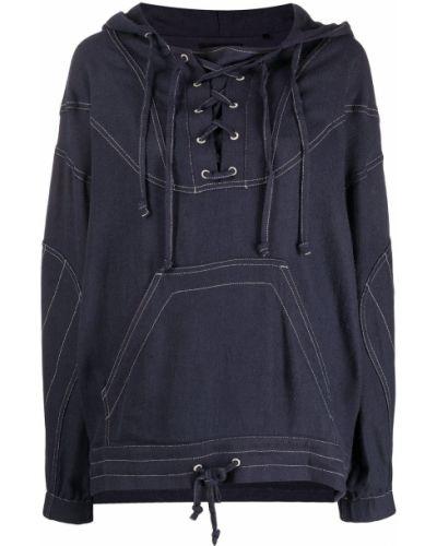 Czarna bluza długa z kapturem z długimi rękawami Isabel Marant