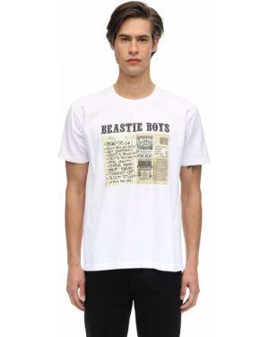 Prążkowany biały t-shirt bawełniany Fact. X Beastie Boys