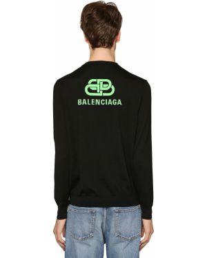 Prążkowany czarny sweter wełniany Balenciaga