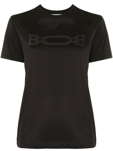 Трикотажная черная футболка с вырезом Bally