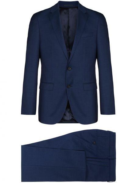 Z rękawami wełniany niebieski garnitur z klapami Boss