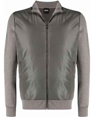 Серая куртка на молнии с воротником Boss Hugo Boss