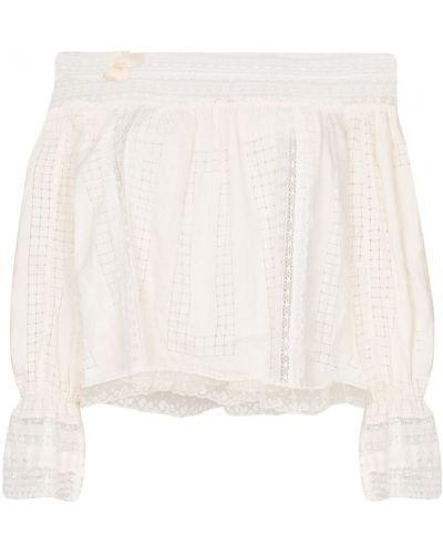 Бежевая блузка с открытыми плечами винтажная с поясом One Vintage