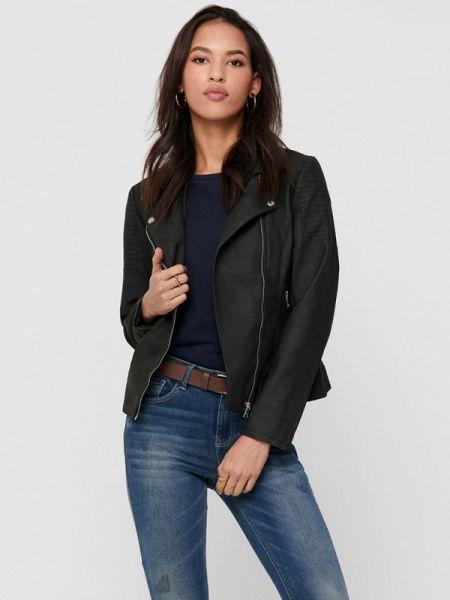 Кожаная куртка черная весенняя Only