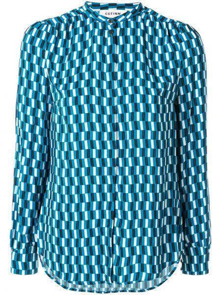Синяя рубашка с воротником с манжетами Cefinn