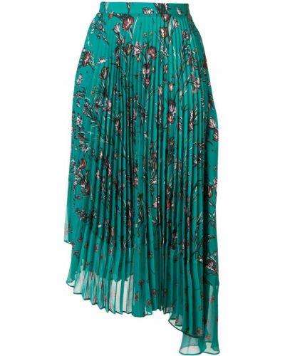 Плиссированная юбка с цветочным принтом зеленый Markus Lupfer