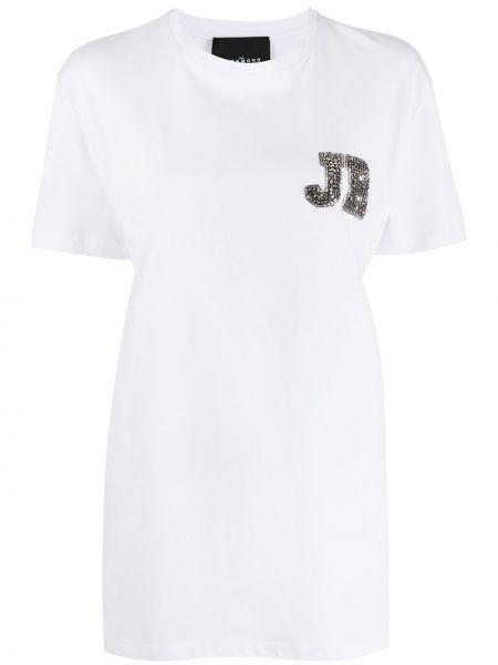 Прямая белая футболка с вырезом John Richmond
