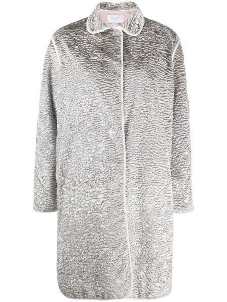 С рукавами серое длинное пальто металлическое с декоративной отделкой Giambattista Valli