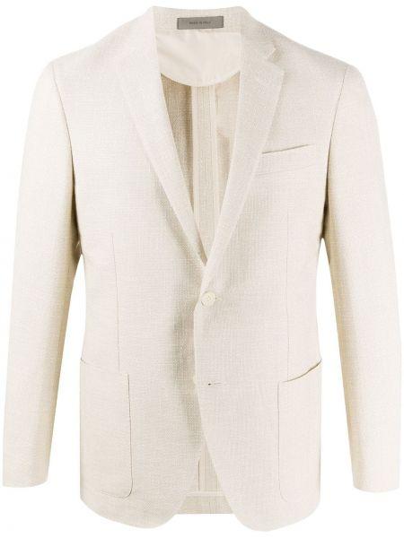 Льняной белый удлиненный пиджак с накладными карманами Corneliani
