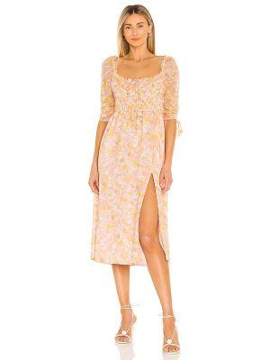 Шифоновое платье миди - розовое For Love & Lemons