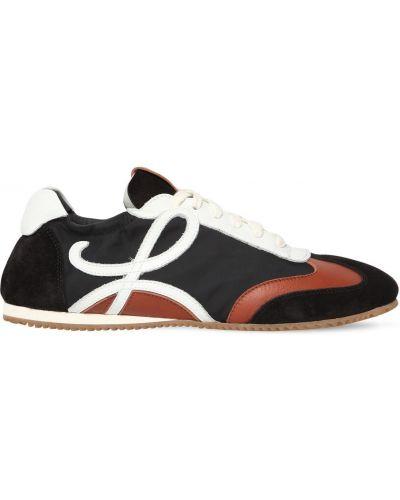Кожаные кроссовки замшевые с логотипом Loewe