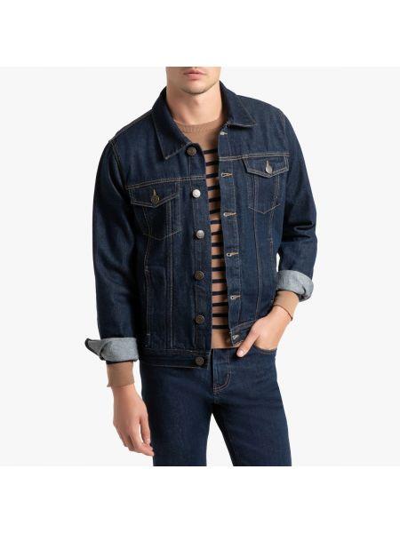 Прямая синяя джинсовая куртка на пуговицах прозрачная La Redoute