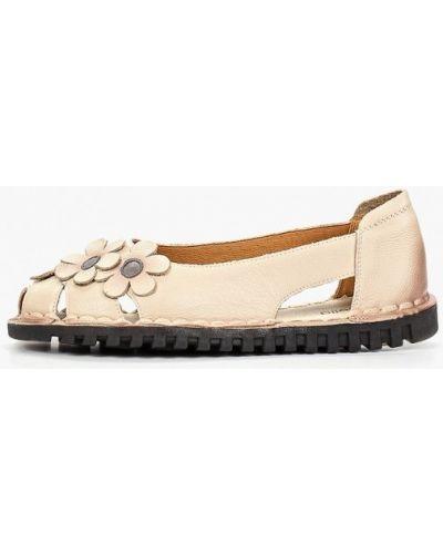 Кожаные туфли с открытым носком бежевый Madella