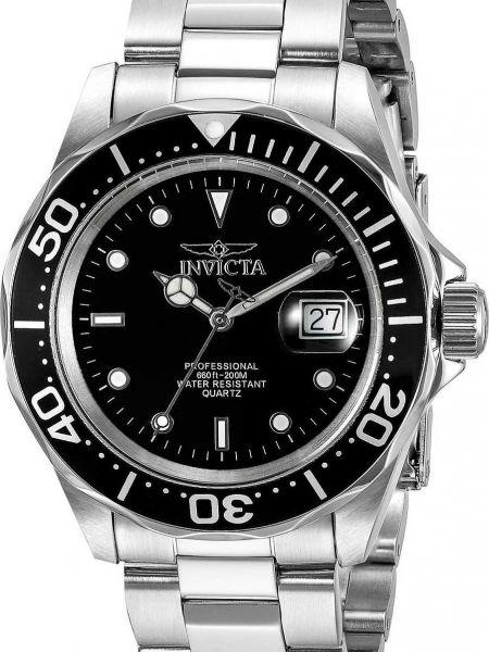 Со стрелками спортивные черные часы водонепроницаемые Invicta