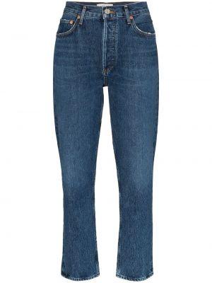 Синие укороченные джинсы с карманами на пуговицах в стиле бохо Agolde