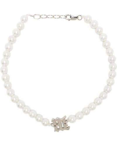 Biały naszyjnik z pereł srebrny Misbhv