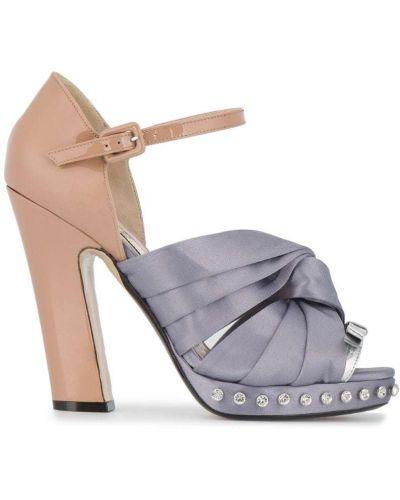 Босоножки на каблуке с бантом кожаный N21