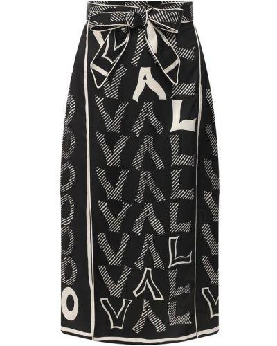 Юбка миди шелковая черно-белая Valentino