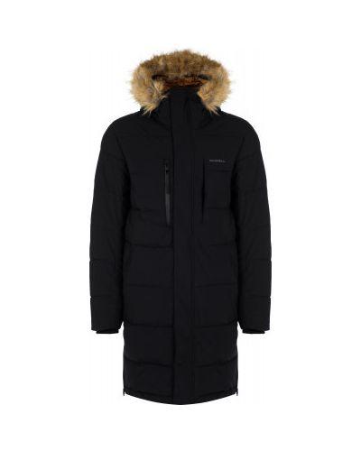 Черная утепленная длинная куртка из искусственного меха Merrell
