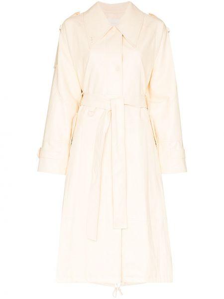 Белое кожаное пальто классическое Low Classic