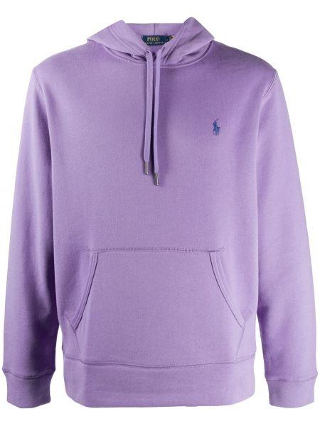 Prosto fioletowy koszulka polo z haftem z długimi rękawami Polo Ralph Lauren