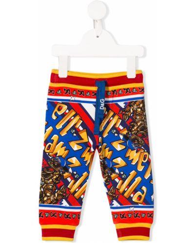 Sportowe spodnie wzorzyste z wzorem Dolce & Gabbana Kids