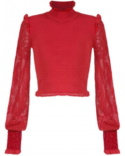Блузка с длинным рукавом сетка красная Andrea Bogosian