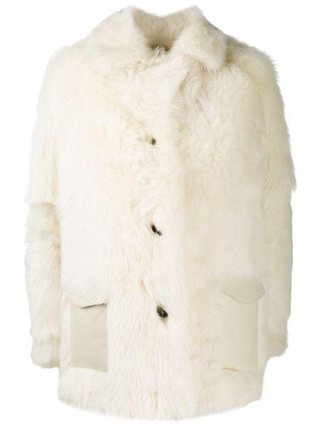 Белая кожаная куртка оверсайз Simonetta Ravizza