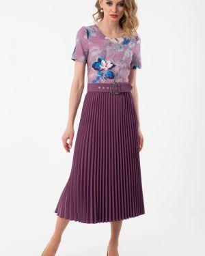 Вечернее платье розовое с поясом Wisell
