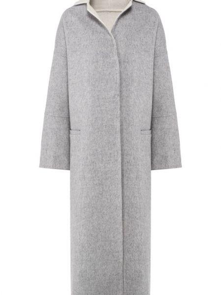 Серое пальто из альпаки с капюшоном Tegin