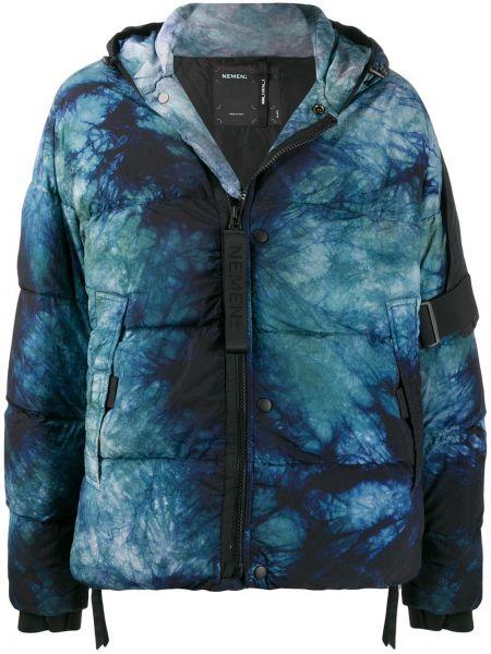 Прямая синяя куртка с капюшоном Nemen