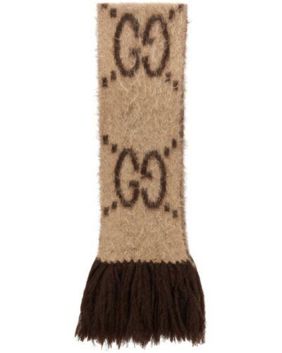 Wełniany beżowy szalik prostokątny Gucci