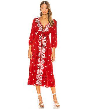 Платье макси с вышивкой из вискозы Free People