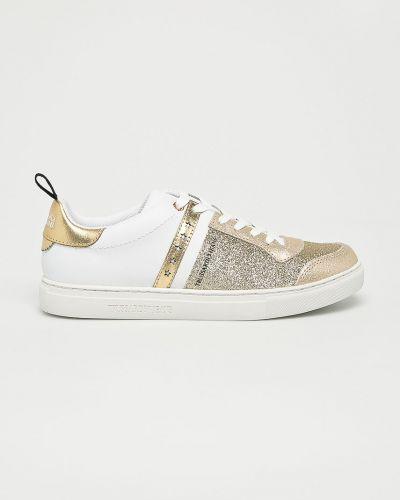 Джинсы на шнуровке золотого цвета Trussardi Jeans
