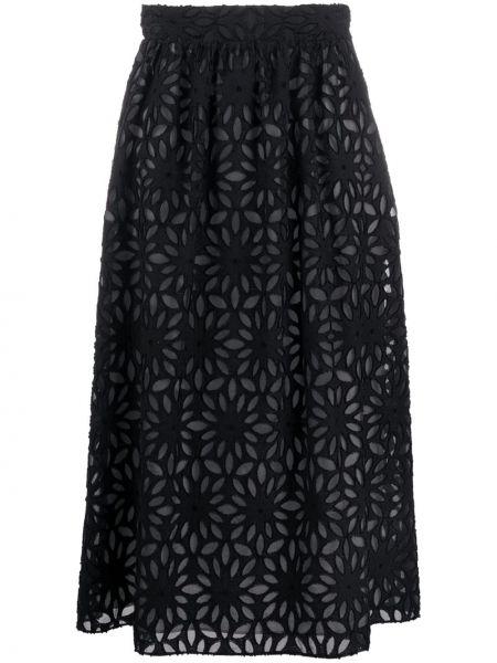 Черная юбка миди с карманами в рубчик Harris Wharf London