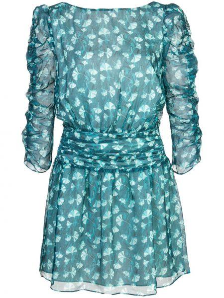 Niebieska sukienka mini z falbanami bawełniana Rachel Zoe