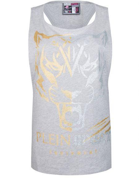 Футбольная серая спортивная футболка с открытыми плечами с круглым вырезом Plein Sport