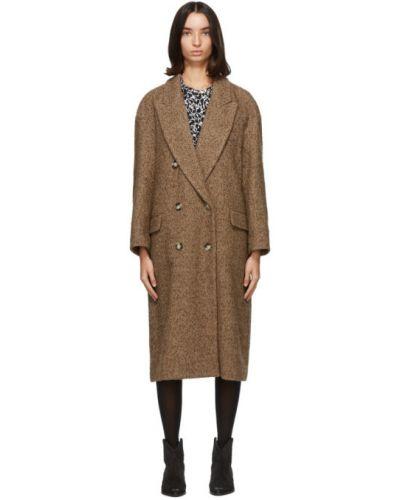 Коричневое шерстяное длинное пальто с воротником Isabel Marant Étoile