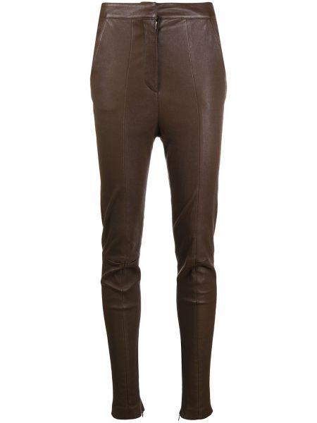С завышенной талией коричневые кожаные брюки Balmain