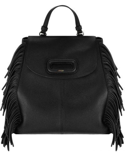 Кожаный рюкзак на шнуровке черный Maje